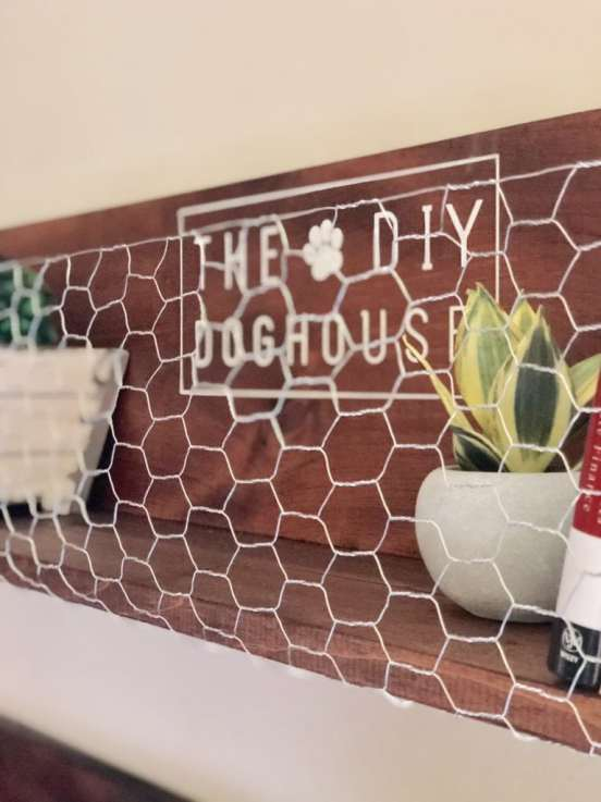 wood shelves with chicken wire