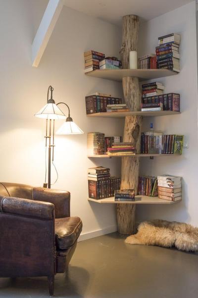 Corner Shelves Tree DIY Homemade Wood Bookshelf Projects Books Lamp