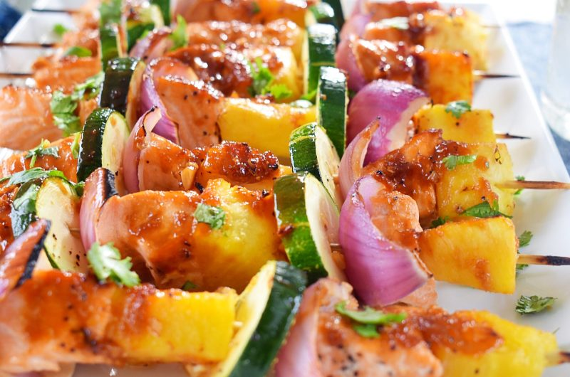 Sweet Salmon and Pineapple Kabobs