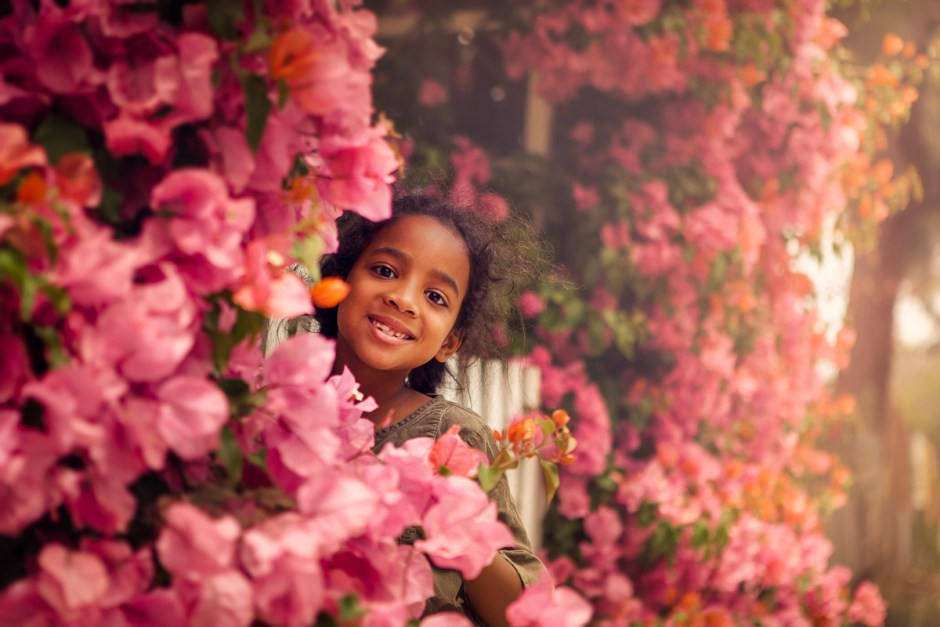 beautiful flowers and young smile