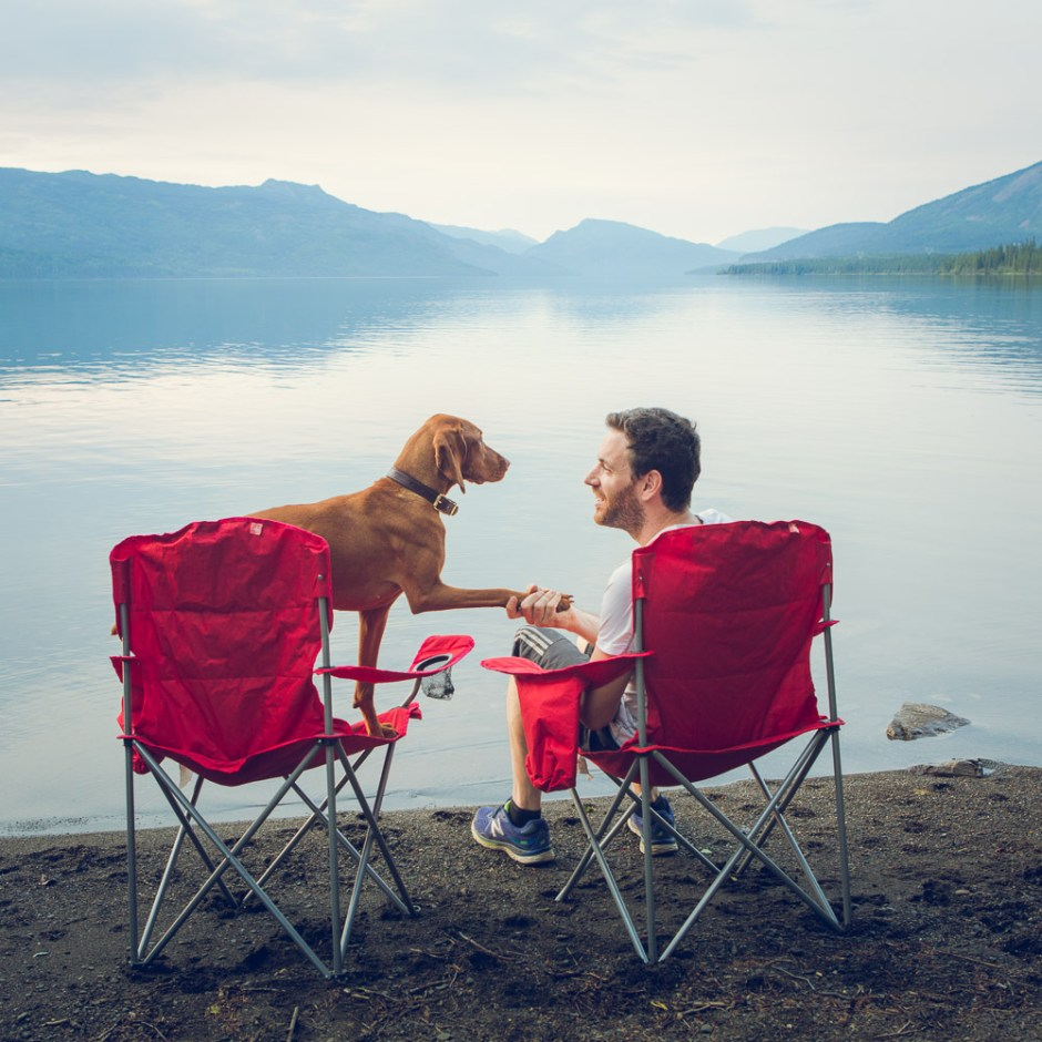 camping with a view in northern british columbia, man's best friend vizsla