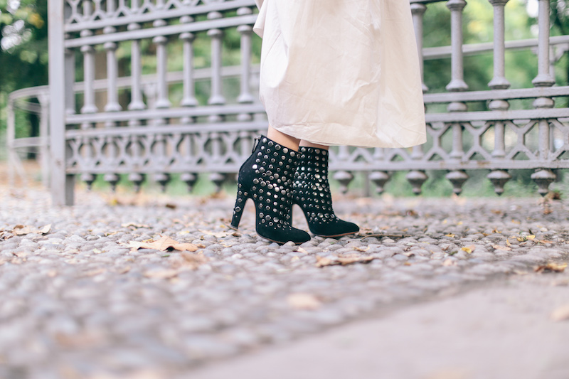 azzedine alaia suede studded boots
