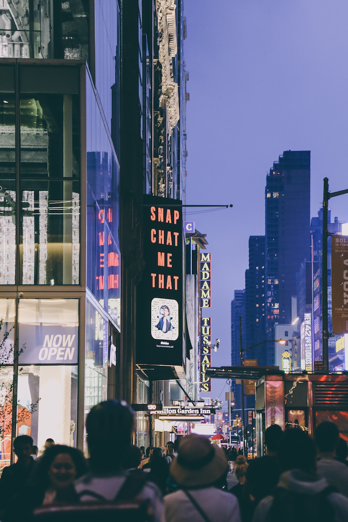 Snapchat mania in Times Square