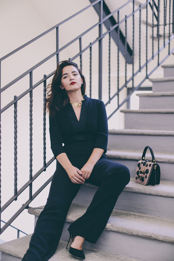 black jumpsuit fashion blogger anjeza tufina
