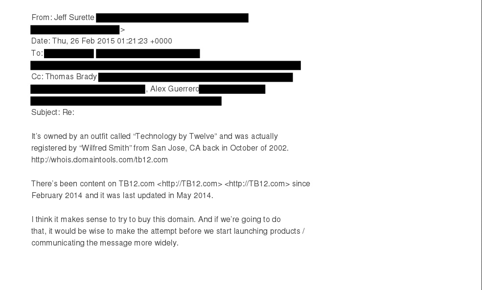 We Dug up the Emails on Tom Brady and TB12 com domain name