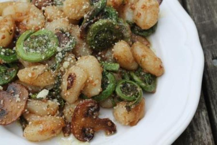 Brown Butter, Fiddlehead & Mushroom Gnocchi | thedomesticblonde.com
