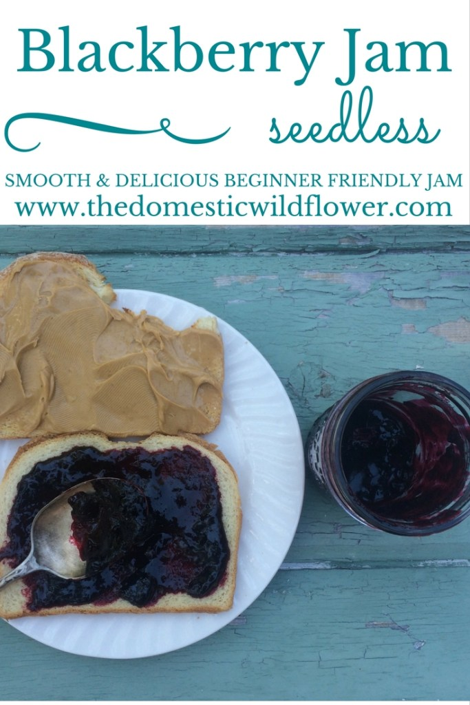 Smooth Blackberry Jam | The Domestic Wildflower click to read this beginner friendly recipe and tutorial for smooth blackberry jam. It was wonderful flavor without the seeds! Get the recipe here!
