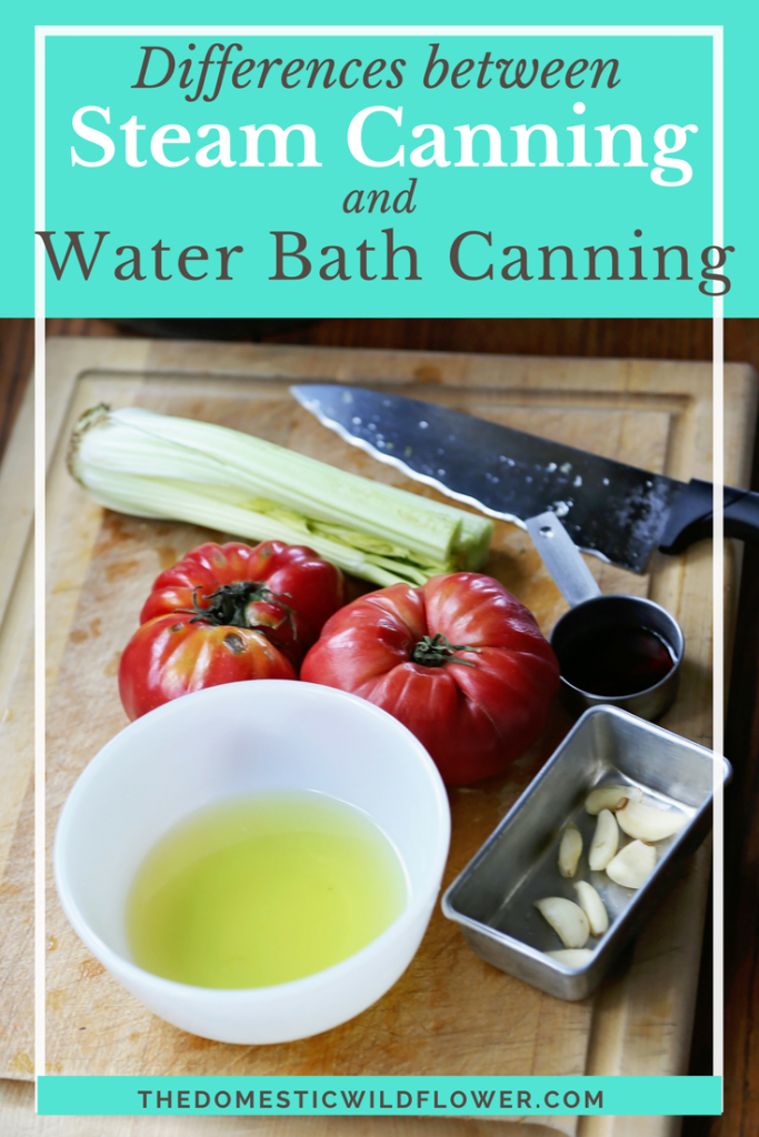 Differences between Steam Canning and Water Bath Canning | Read this post to learn the important differences between water bath canning and steam canning and see that steam canning can save up to 30 minutes or more per batch and weighs just a quarter of a traditional water bath canner, and is ideal for a beginning canner.