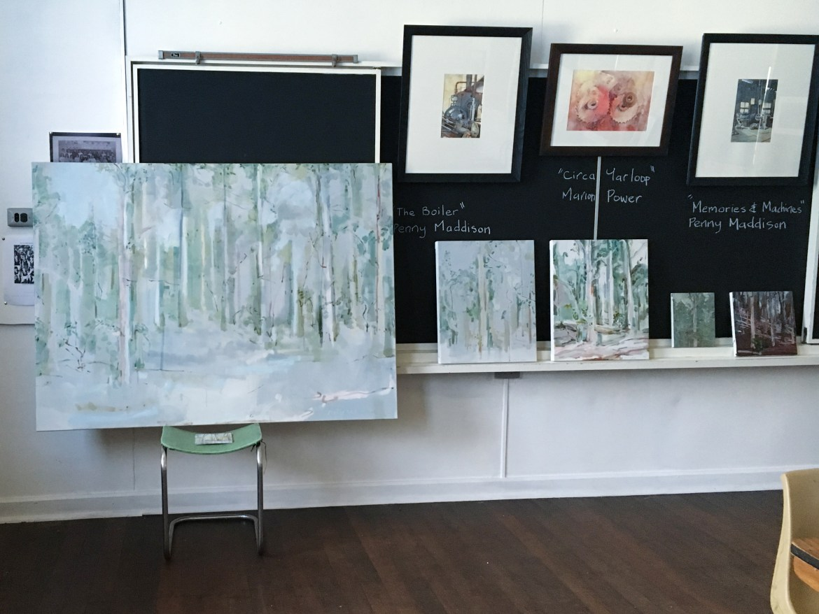 Jo Darvall's works on canvas and board on display at the Donnelly River school.