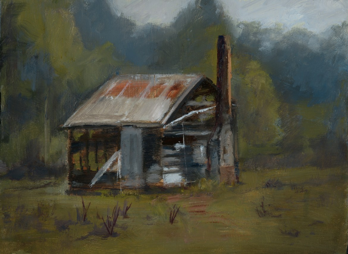Peter Barker, Donnelly River Shack, 200 x 150 mm, oil on board, 2018