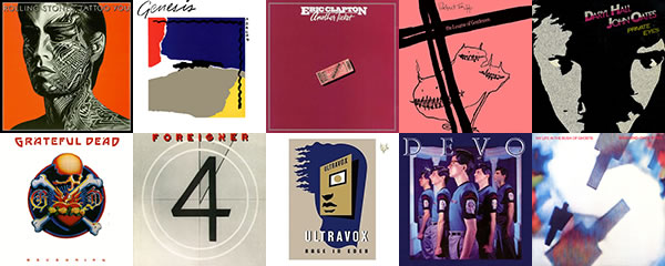 1981 album covers: The Rolling Stones, Genesis, Eric Clapton, Robert Fripp and The League of Gentlemen, Daryl Hall and John Oats, Grateful Dead, Foreigner, Ultravox, Devo, Brian Eno and David Byrne