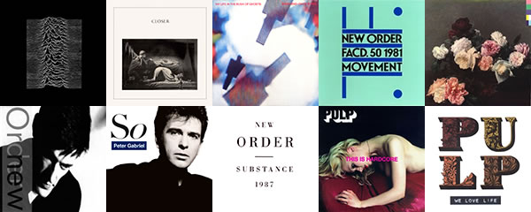 Peter Saville album covers: Joy Division, New Order, Brian Eno and David Byrne, Peter Gabriel, Pulp