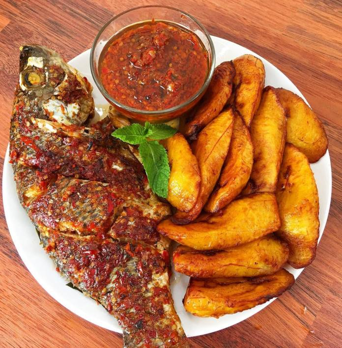 grilled fish with fried plantain recipe