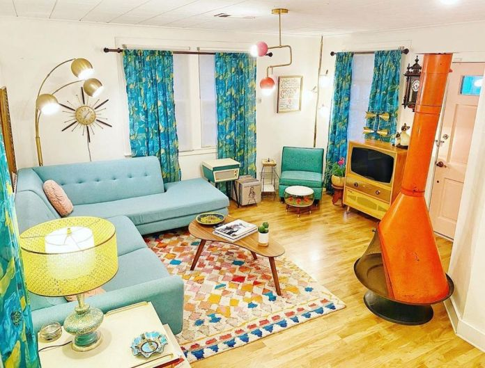 midcentury family room decor