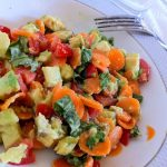 Avocado with Tomato, Basil and Carrots