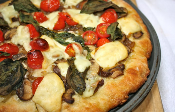 Caramelized Mushroom & Onion Pizza with Blistered Cherry Tomatoes