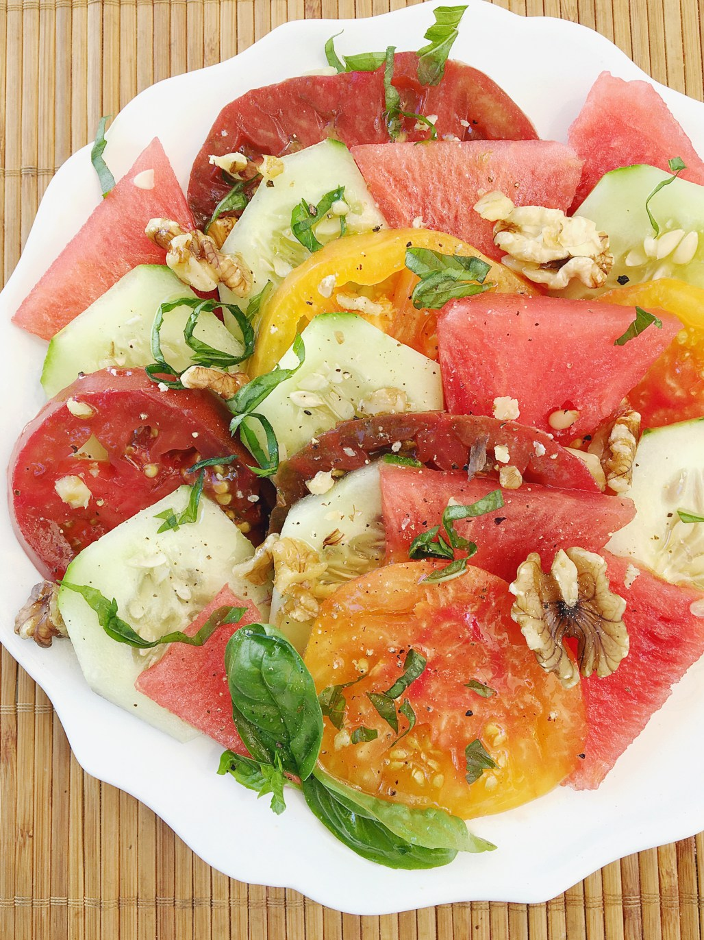 Watermelon, Heirloom Tomato & Cucumber Salad
