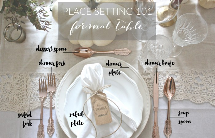 Place Setting 101 : Formal Table