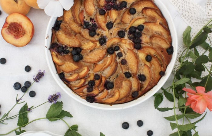 A Rustic Peach & Blueberry Cake