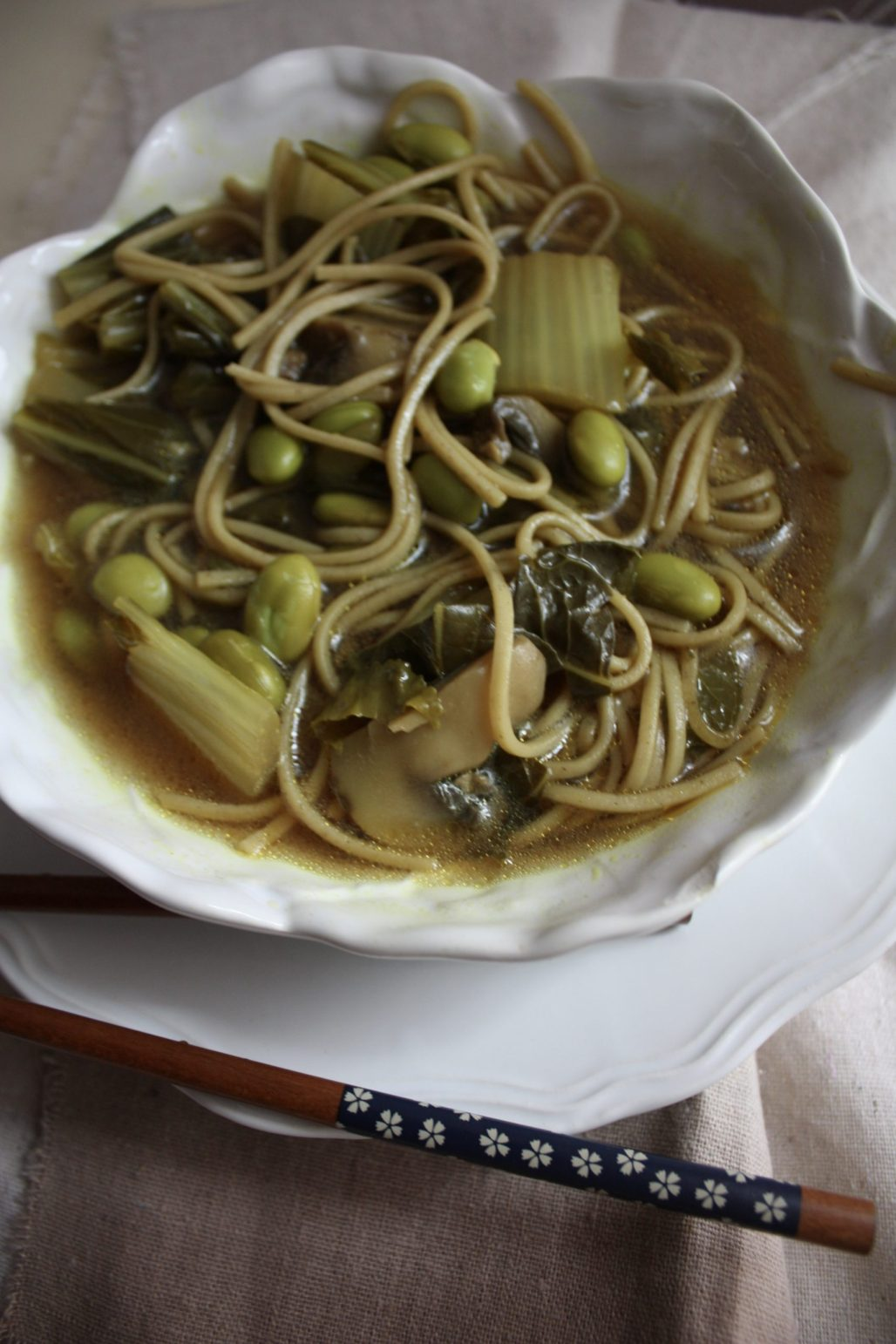 Soba Noodles in a Miso Sesame Broth with Toasted Edamame and Bokchoy    Dreamery Events