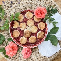 Strawberry Rhubarb Rose Cobbler || Dreamery