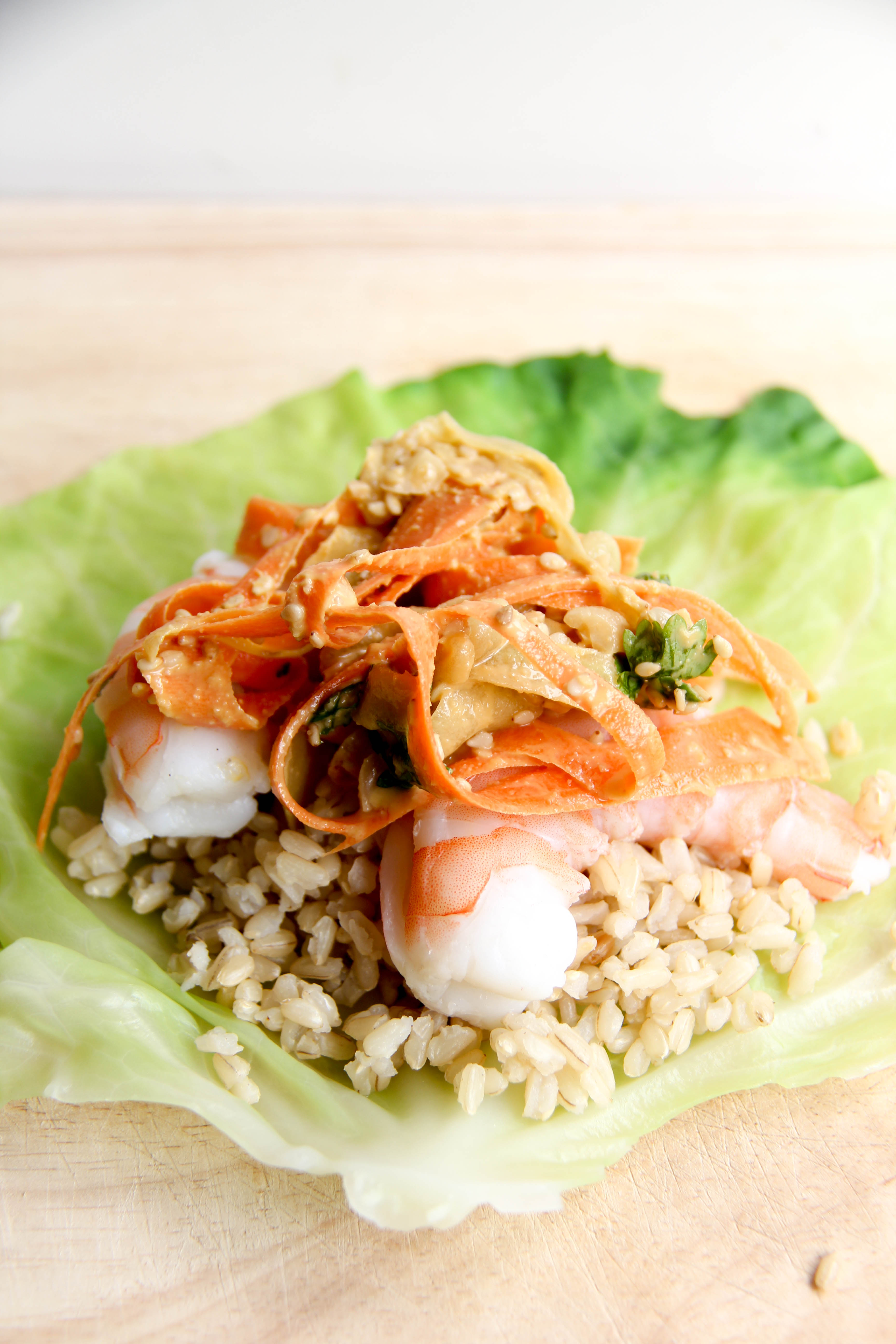 Shrimp the dreaming foodie i blanched the cabbage leaves for this recipe blanching the cabbage is super easy and turns out perfect to act as wraps the leaves get soft but still forumfinder Images