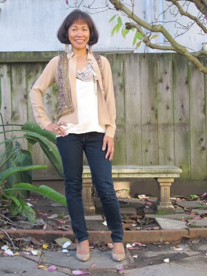New Year's Day outfit: Neutral layers for embellishments, sequins, and other shiny things.