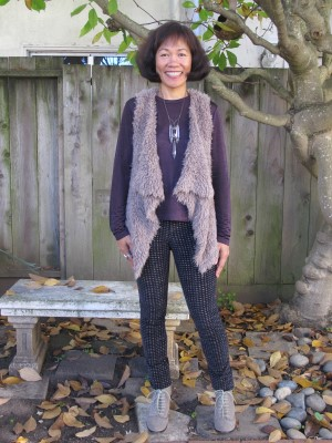 Wear comfortable clothes - stretchy leggings, soft jersey blouse, and downy faux fur vest - when going antique shopping.