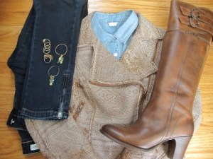 Breaking up an all-denim foundation with earthy colors - a textured moto jacket and beloved Frye boots, and embellished with hoop earrings from Lava 9 (Berkeley, CA).