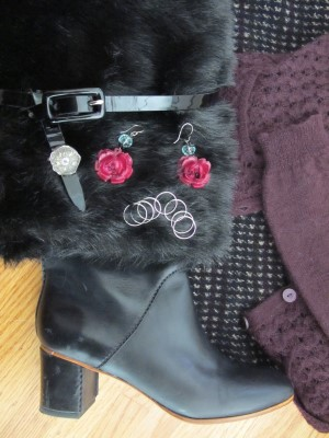Layers, different textures such as waffle knits and flecked leggings, smooth and patent leather, faux fur, antique button ring by Elizabeth Ngo, reclaimed vintage rose earrings by Carmela Rose, and Sundance stack of rings.
