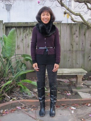 Ready to walk Rex on a winter morning with over-the-knee boots!