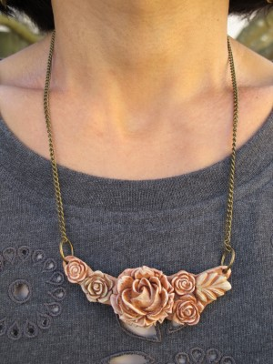 Close-up of the rose necklace made from corn from Gorgeous and Green.
