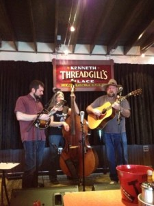 Local bluegrass trio Out of the Blue making beautiful music.