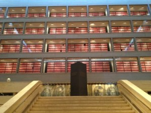 The staircase from the 3rd floor to the 4th floor gives you a view of the impressive collection of LBJ's archives.
