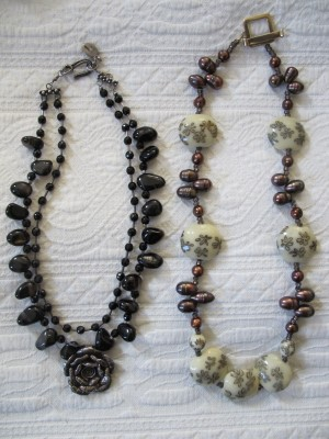 Vintage Carmela Rose: vintage sterling silver, tourmaline, and Czech glass (left) and vintage lampwork glass, freshwater pearls, and glass with a gold vermeil clasp.