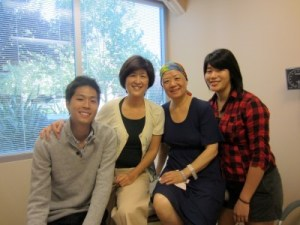 After one of Liou's treatments, with Tsai and her son, Garrett, and Liou's daughter, Christina, 2011. (Photo courtesy of Tsai)