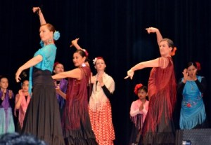 My friend Tana (in turquoise and black) performing their flamenco dance.