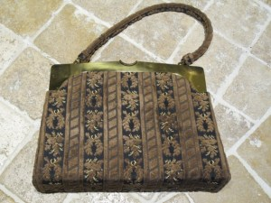 Crown Lewis fabric handbag.