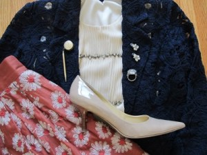Navy and orange go well together. Think Syracuse! A nude Mad Men pump ties it all together.