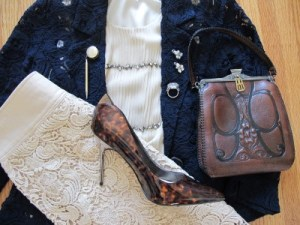 Another way to break up lace on lace is with accessories: The Edwardian-era purse and mottled brown (animal print) bring more texture and interest in vintage and contemporary.