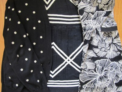 Be playful and mix patterns in black and white.