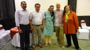 Maria with her IBM colleagues and NGO India@75 (left to right): Arun Chaube of India@75, Miguel Contreras, interpreter Namita Goel of India@75, Zach Waltz, and Maria. (Photo credit: Mamtha Sharma, IBM)