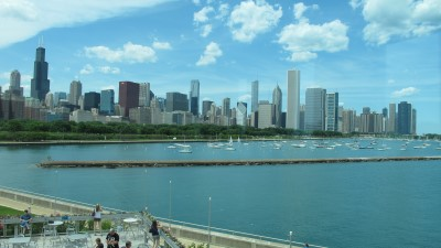 The Chicago skyline from the Shedd Aquarium.