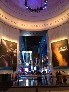 The massive Science Storms exhibit.