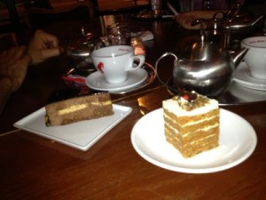 A taste of Vienna: Tea with chocolate mousse cake and carrot cake.