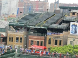 Wrigley rooftop seats across the park before game time.