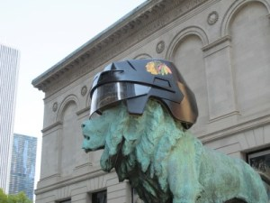 The iconic lion appropriately sporting a Seahawks helmet.