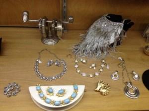 Unusual vintage purses are also on display.