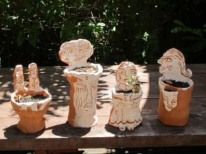 Lauren's flower pots in her garden.