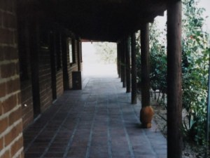 Outside the rooms of Abgayani Village is a courtyard.